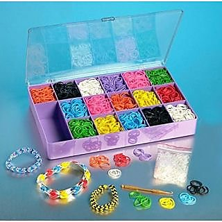 Loom Rainbow Rubber Band Complete Collection Organizer Storage Kit - Includes 4000 Rainbow Rubber Bands, 120 S Clips, Al