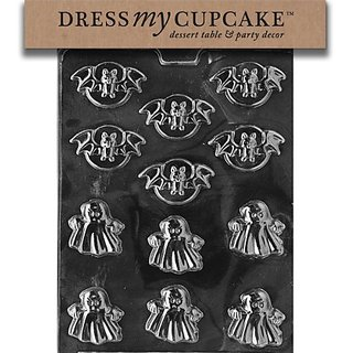 Dress My Cupcake DMCH090 Chocolate Candy Mold, Bats and Ghosts , Halloween