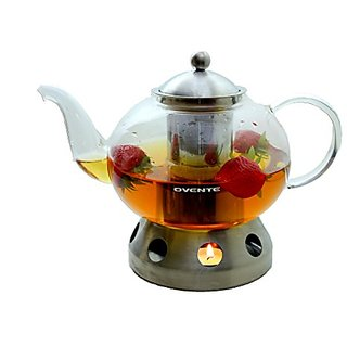 Ovente FGD51T 51oz Heat Tempered Glass Teapot with Tea Infuser and Stainless Steel Teapot Warmer