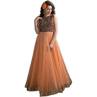Mahamaya Creation Orange Round Neck Self Design A Line Dress