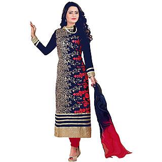 Mahamaya Creation Blue Round Neck Self Design A Line Dress