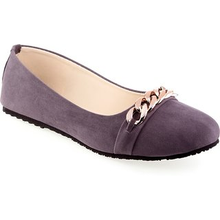 Aashka Women's Grey Slip On Bellies