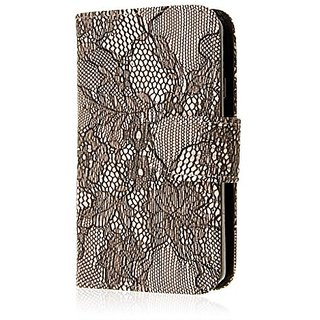 MPERO LG Transpyre / Tribute 2 Wallet Case, [Flex Flip] Cover with Card Slots and Wrist Strap (Black Lace)