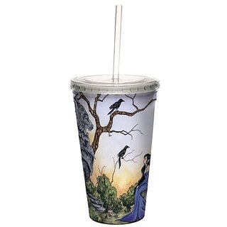 Tree-Free Greetings Traveler Double-Walled Cool Cup With Reusable Straw 16 Ounce - Cc33575