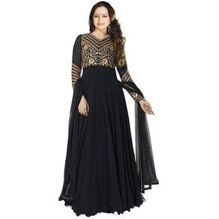 Mahamaya Creation Black V-Neck Self Design A Line Dress