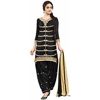 Mahamaya Creation Black Round Neck Self Design A Line Dress