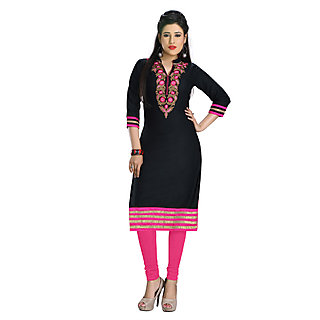 Mahamaya Creation Black Chinese Collar Self Design A Line Dress