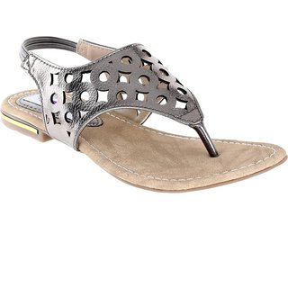 Aashka Women's Gray Slip on Flats