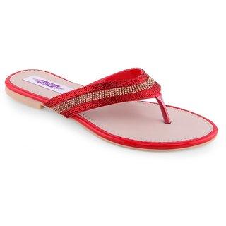 Aashka Women's Red Slip on Flats