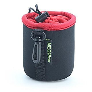 Black-Red Camera Lens Pouch Hanging Shockproof for Sony QX10 Lens