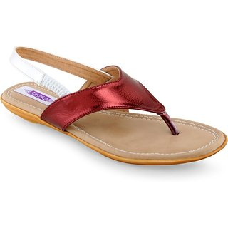 Aashka Women's Maroon Slip on Flats