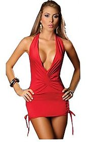 Valentine Red Backless deep V neck Mini Dress party wear with matching gstring