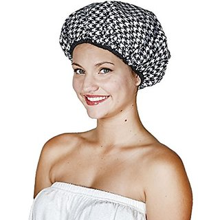 Betty Dain Socialite Collection Terry Lined Shower Cap, Houndstooth, 3.36 Ounce