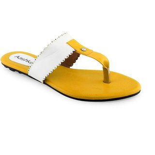 Aashka Women's Yellow Slip on Flats
