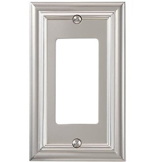 Amerelle 94RN Continental Cast Metal Wallplate with 1 Rocker, Satin Nickel