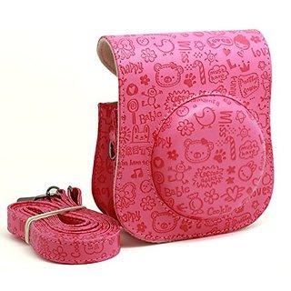 Woodmin Fuji Instax Mini 25 Camera Case cartoon colorful PU Leather fujifilm mini 25 case ---Rose Red
