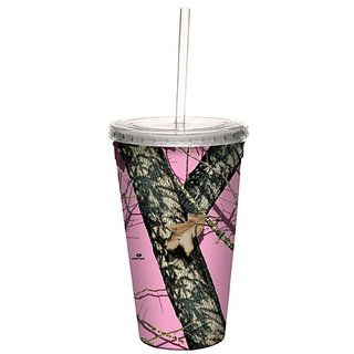 Tree-Free Greetings 80618 Pink Break Up by Mossy Oak Camo Artful Traveler Double-Walled Acrylic Cool Cup with Reusable S