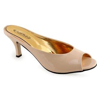 Aashka Women's Beige Slip on Heels Sandal