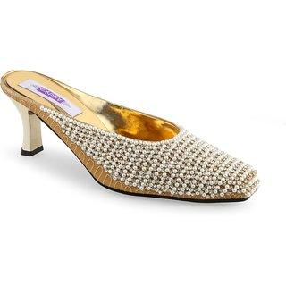 Aashka Women's Gold Slip on Heels Sandal