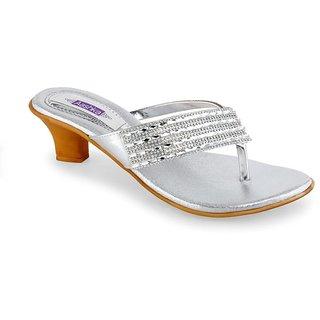 Aashka Women's Silver Slip on Heels Sandal