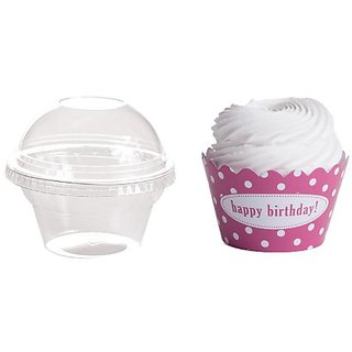 Dress My Cupcake Personalized Favor Dome Containers with Wrappers DIY Kit, Polka Dot, Happy Birthday, Cherry Blossom Pin
