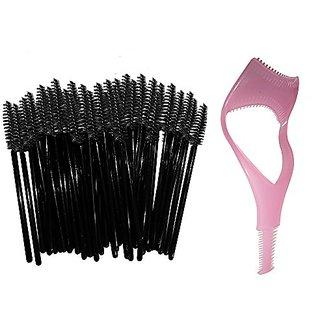 Disposable Eyelash Mascara Wands Brush Set - Black - FREE Mascara Shield Applicator Guard Guide Comb & Beauty eBook - Hi