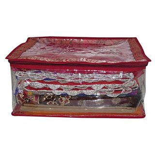 Kuber Industries Transparent Brocade Saree Cover (Maroon) - Upto 15 Pcs Sctrm601