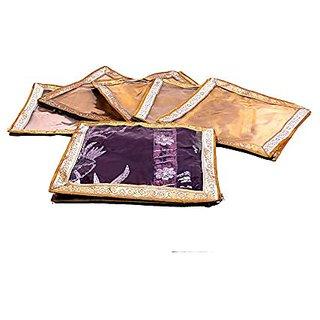 Kuber Industries Designer Transparent Saree Cover (Golden ) Set Of 6 Pcs , Wedding Collection Scg023