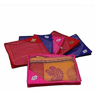 Kuber Industries Quilted Saree Cover 6 Pcs Set (Multi), Wedding Collection Gift Scq001