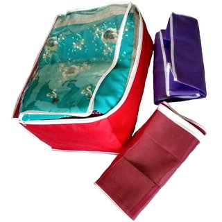 Kuber Industries Transparent Non Woven Multi Saree Cover Set Of 3 Pcs Sc0012