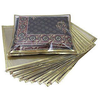 Ruhis Creations (Tm) Premium Golden Saree Bag / Cover (Pack Of 10) Scg201