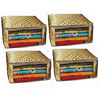 Kuber Industries Saree Cover Large Size In Golden Satin Set Of 4 Pcs Wedding Gift Scgl012