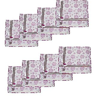 Kuber Industries Printed Non Wooven Saree Cover Set Of 8 Pcs (White) Scnw0021