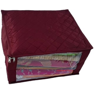 Kuber Industries Quilted Satin Large Saree Cover (Maroon) Scqsm02