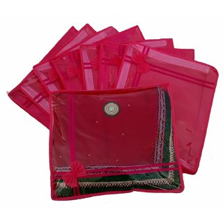 Kuber Industries Pink Non Woven Designer Saree Cover Set Of 24 Pcs Sc664