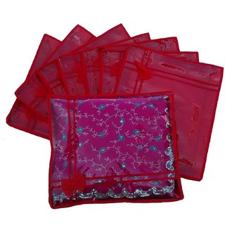 Kuber Industries Red Non Wooven Saree Cover Set Of 8 Pcs Sc760