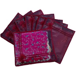 Kuber Industries Non Wooven Maroon Saree Cover Set Of 24 Pcs Sc749