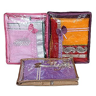 Saree Packing Cover 3 Pcs Combo In Satin Ki15