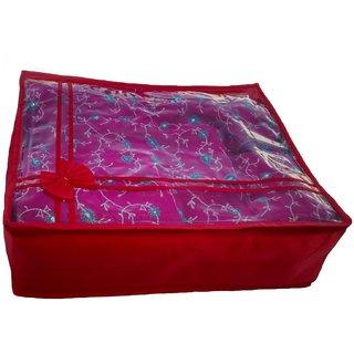 Kuber Industries Non Woven Transparent Designer Multi Saree Cover (5-10 Sarees Capacity) Bcr101