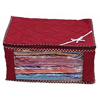 Kuber Industries Red 3 Layered Quilted Synthetic Multi Saree Cover (10-15 Sarees Capacity) Set Of 6 Pcs Scqr306