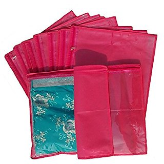 Kuber Industries Non Wooven Abs Saree Cover (Set Of 12) - Pink &Amp; Green Ki174