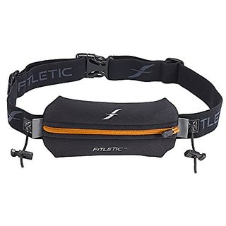Fitletic Single Pouch with Race Number Holder, Black/Orange, One Size Fits All