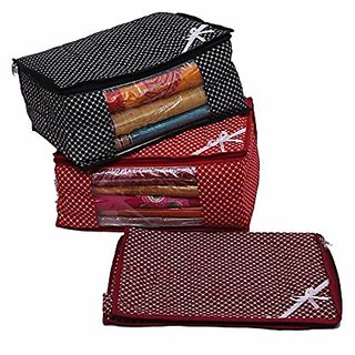 Kuber Industries Multi 3 Layered Quilted Printed Transparent Multi Saree Cover (10-15 Sarees Capacity) Set Of 3 Pcs Scm761