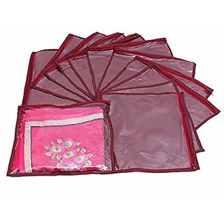 Kuber Industries Single Packing Saree Cover 12 Pcs Set (Maroon) K013