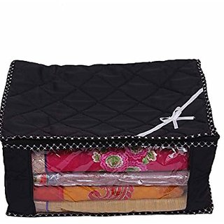 Kuber Industries Black 3 Layered Quilted Synthetic Multi Saree Cover (10-15 Sarees Capacity) Set Of 6 Pcs Scqb312
