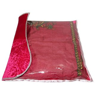 Kuber Industries Synthetic Fancy Saree Cover - Maroon Ki208