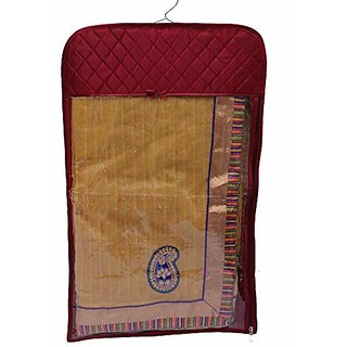 Kuber Industries Hanging Designer Saree Cover In Heavy Quilted Satin Set Of 3 Pcs, Wedding Collection Hscm621