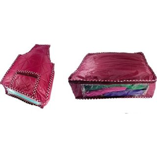 Kuber Industries Combo Of Saree Cover And Blouse Cover Scom305