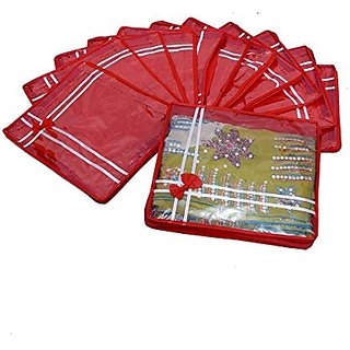 Kuber Industries Saree Cover Non Wooven Material 24 Pcs Set (Red) Scnwmr308