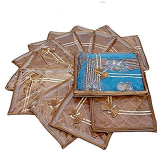 Kuber Industries Saree Cover 12 Pcs Combo In Golden Satin ,Wedding Collection Gift Scgl521